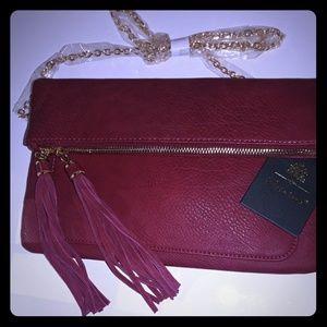 NWT Moda Luxe burgundy clutch